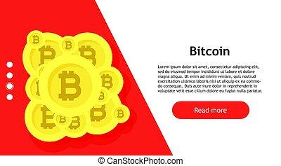 vecteur, transfer., app, signe, informatique, crypto, bitcoin, conceptual., numérique, économie, banking., business, échange, symbole, internet, monétaire, btc., fond, blockchain., monnaie, bannière, commerce, espèces, croissance