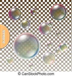 vecteur, transparent, arc-en-ciel, reflet, isolé, ensemble, réaliste, coloré, bulles, savon