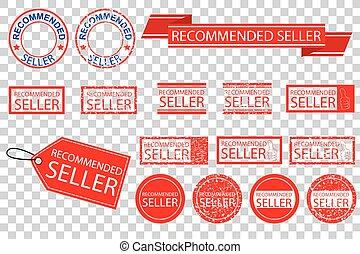 vecteur, transparent, divers, signe, style, vendeur, fond, recommandé, effet