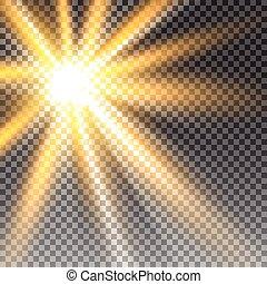 vecteur, transparent, lumière soleil