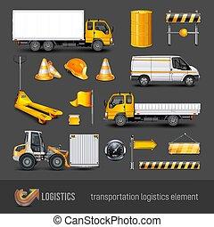 vecteur, transport, illustration., elements.