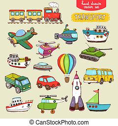 vecteur, transport, jouets