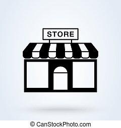 vecteur, trendy., bâtiment, marquise, symbole, magasin, ...