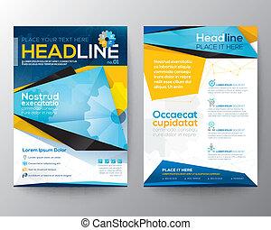 vecteur, triangle, livret, résumé, annuel, couverture, brochure, magazine, aviateur, conception, gabarit, rapport, disposition