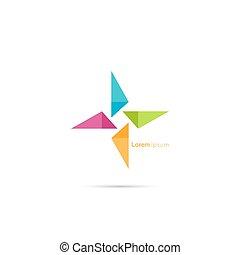 vecteur, triangle, social, icon., logo, beauté