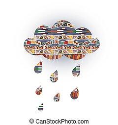 vecteur, tribal, temps, gouttes pluie, ornaments., nuage