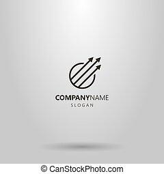 vecteur, trois, rond, logo, simple, ligne, cadre, flèches, art, diagonal