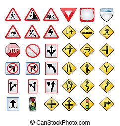 vecteur, turist, panneaux signalisations