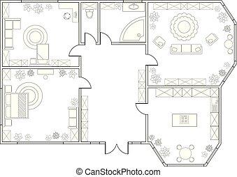 vecteur, two-bedroom, plan, résumé, appartement