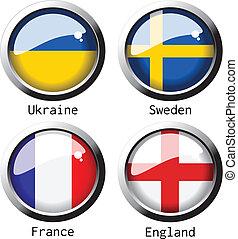 vecteur, uefa, euro, 2012, drapeaux, -, groupe, d