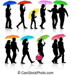vecteur, umbrella., couleur, silhouettes, femme, sous, illustrat, homme