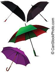 vecteur, umbrellas., ensemble, ouvert, il