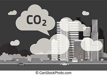 vecteur, urbain, écologie, nuages, ville, ville, grand, illustration, scène, plat, émission, ou, smog, co2, fumée, bioxyde, carbone, problème, pollution, dessin animé, émissions