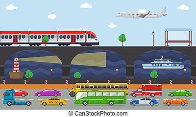 vecteur, urbain, avion, navigation., route, illustration., ville, transport, rue, bateau, remblai, phare, autobus, camion, train, ferroviaire, traffic., voitures, concept