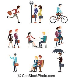 vecteur, urbain, extérieur, professionnels, hommes, ensemble, caractères, activity., femmes