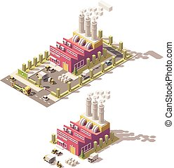 vecteur, usine, poly, bas, isométrique