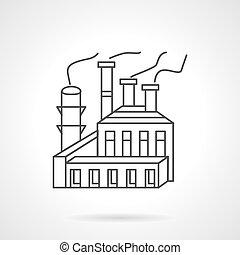 vecteur, usine, pulpe, papier, icon., ligne
