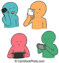 vecteur, utilisation, smartphone, ensemble, gens