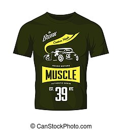 vecteur, véhicule, railler, t-shirt, chaud, isolé, logo, tige, vert, haut., vendange