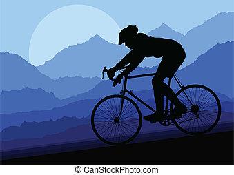 vecteur, vélo, vélo, silhouette, sport, cavalier, route