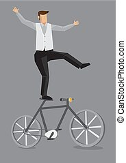 vecteur, vélo, voltigeur, illustration, dessin animé