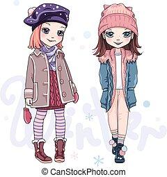 vecteur, vêtements, filles, hiver, ensemble