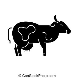 vecteur, vache, fond, icône, isolé, signe, illustration