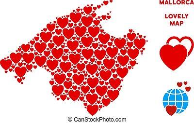 vecteur, valentin, espagne, mallorca, île, carte, mosaïque, de, cœurs
