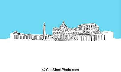 vecteur, vatican, panorama, croquis, horizon ville