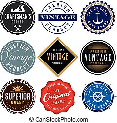 vecteur, vendange, étiquettes, collection