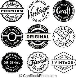 vecteur, vendange, étiquettes, ensemble