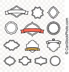 vecteur, vendange, étiquettes, text., illustrati, gabarit, minimalisme