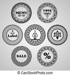 vecteur, vendange, étiquettes