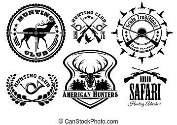 vecteur, vendange, ensemble, chasse, emblems.