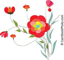 vecteur, vendange, fleurs, ensemble, retro