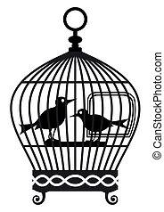 vecteur, vendange, graphique, -, cage d'oiseaux
