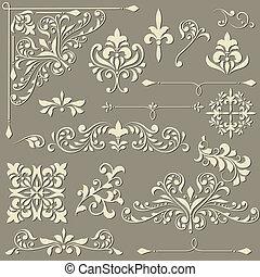 vecteur, vendange, stylique floral, éléments