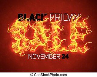 vecteur, vente, texte, à, rouges, brûler, flammes, arrière-plan., ondulé, fils, depuis, ardent, letters., chaud, noir, vendredi, vente, illustration, pour, prospectus, cartes, promo, matériels, etc., mince, bouclé, flames., eps10