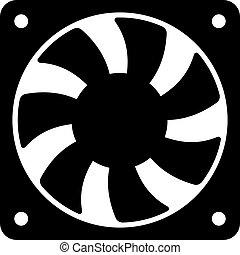 vecteur, ventilateur ordinateur