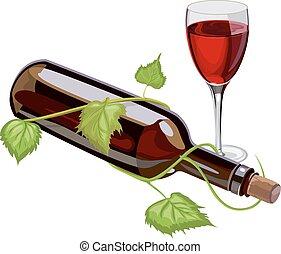 vecteur, verre., bouteille, vin