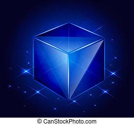 vecteur, verre, cube