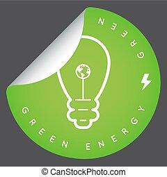 vecteur, vert, énergie, icône