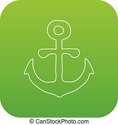 vecteur, vert, ancre, icône
