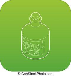 vecteur, vert, bouteille, éthanol, icône