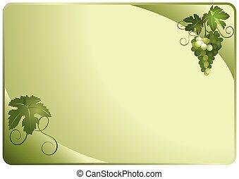vecteur, vert, carte, raisins