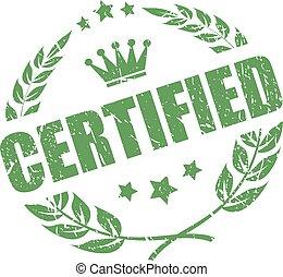 vecteur, vert, certifié, cachet