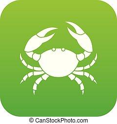vecteur, vert, crabe, icône
