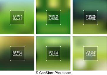 vecteur, vert, ensemble, arrière-plans, brouillé