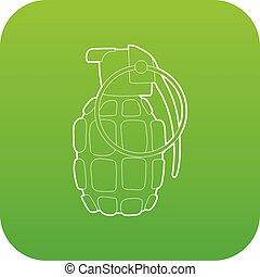 vecteur, vert, grenade, main, icône