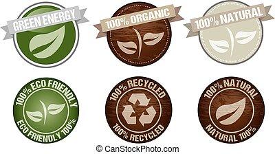 vecteur, vert, icône, étiquette